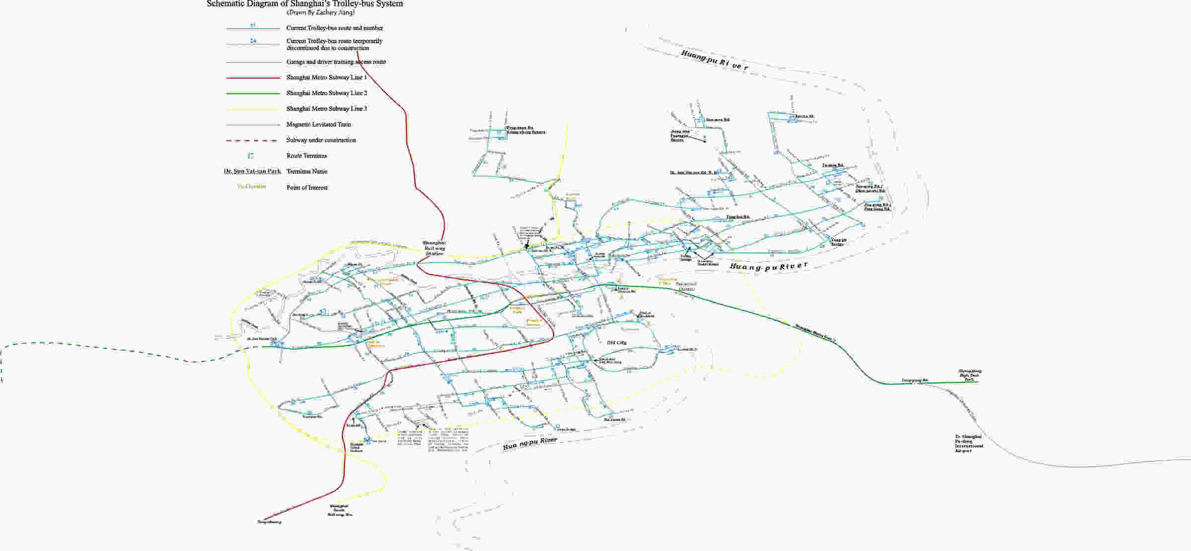 Schematic diagram of Shanghai\'s trolley-bus system | Virtual Shanghai
